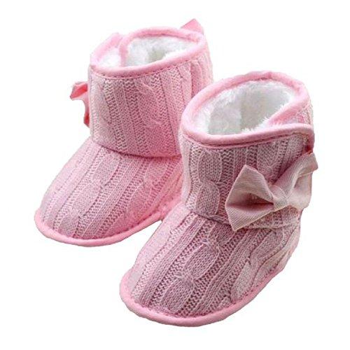 Zolimx Baby Bowknot Soft Sole Winter Warm Stiefel Schuhe (11, Grau) Rosa