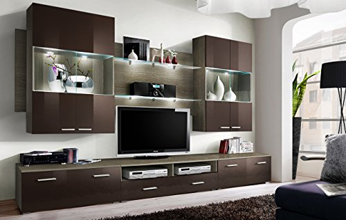 SPACE - TV CABINETS / TV STANDS / PCV - TOP QUALITY / TV UNIT / HIGH GLOSS (SONOMA OAK)