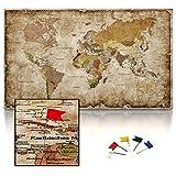 CanvasArts Weltkarte IV - Leinwand PINNWAND auf Keilrahmen - Vintage, deutsch Grunge Style 14.1651 (120 x 70 cm)