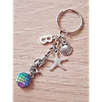 Handmade Personalised Dangling Mermaid with Scales and Ocean Charms Keyring Key Chain