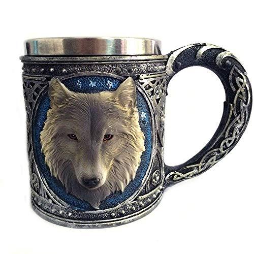 Wolf König 3D Kreative Kaffeetasse Wolf König Kopf Bier Tasse Espresso Tee Tasse Bier Tasse Trinkbecher(450 ML)