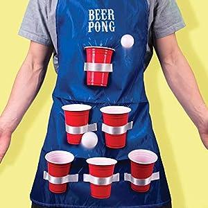 Fizz Creations 1592 Beer Pong - Delantal, Color Azul, Blanco y Rojo