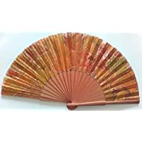 """Abanico """"Otoño"""" seda natural pintado y montado a mano Mariposa"""