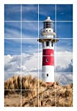 FoLIESEN Fliesenaufkleber für Bad und Küche - Fliesenposter - Motiv- Lighthouse in Nieuwpoort - Fliesengröße 15x15 cm - Fliesenbild 45x75 cm (LxH)