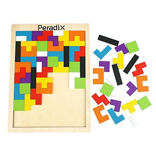 Peradix Tangram Holzpuzzles Lernspielzeug Intelligenz Pädagigisches Spielzeug für Kinder ab 3 Jahre (63PCs)