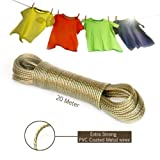 #5: Dropware 20 Meter PVC Coated Steel Anti-Rust Wire Rope Washing Line Clothesline with 2 Plastic Hooks