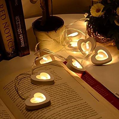 10/20 Led Warm White Wooden Heart Fairy String Light Xmas Wedding Decor Party Lighting Battery Powered
