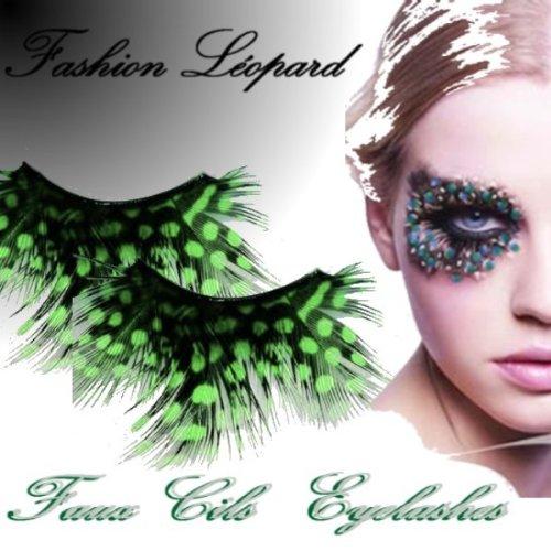 Faux Cils Mascara Mode Plume Leopard Vert Emeraude Fashion Lolita Jade Maquillage Soie