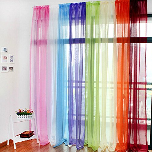 Bluelover Traslucido Sheer Tulle Voile Organza Tenda Drappeggio Wedding Decor per Porta Finestra Vestibolo in Camera - Verde