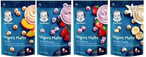 Gerber Graduates Yogurt Melts - Variety Pack of 4 (Banana Vanilla, Peach, Strawberry, Mixed Berries) -