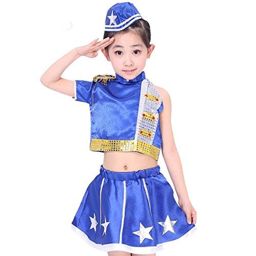 Byjia Kinder Jazz Tanz Performance Kinder Mädchen Jungen Straße Moderne Karaoke Marine Performance Kostüm Klassische Sequins Chor Gruppe Team Blue Girls 140Cm