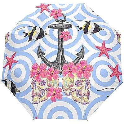 Ancla de Rayas Flores Florales Océano Mar Estrella de mar Auto Abrir Cerrar Sol Lluvia Paraguas