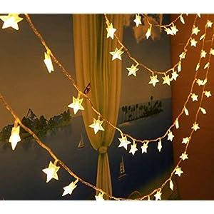 cuzile LED Lichterkette 10 M 100er LED Sterne Batteriebetrieben Warmweiß Innen Beleuchtung Deko für Garten, Wohnungen, Tanzen, Hochzeit, Weihnachtsfeier usw