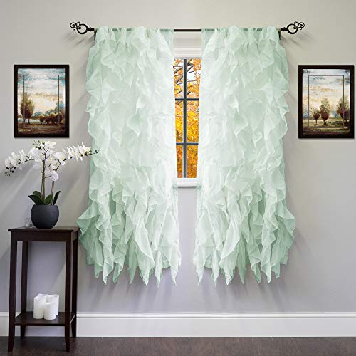 Sweet Home Collection 2 Pack Window Panel Sheer Voile Vertical Ruffled Waterfall Curtains, 63