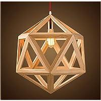 d3a64af39a1cc Tianliang04 Bois Pendentif Géométrique Abat-Jour Plafonnier Lustre Moderne  Salle ...