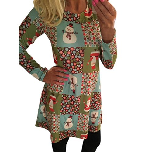 Kaschmir-print Cardigan (Merry Christmas Kleider Damen Print Swing Dress Ladies Long Sleeve Flared Party Dresses Von Xinan (Multicolor 3, L))
