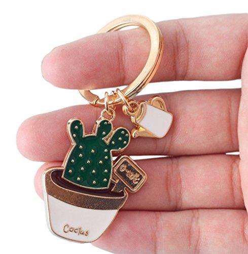 lumanuby llavero Coche Verde Cactus Forma llavero llavero Meaty planta clave cadena Fantasía clave cadena colgante llavero Decoración del coche/puerta/teléfono/Bolsa