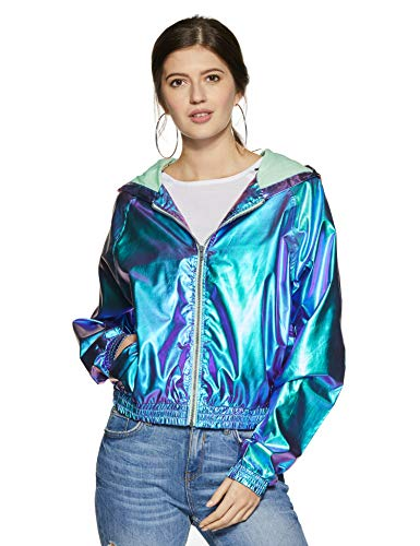 Forever 21 Women's Jacket (85393_Green/Blue_Medium)