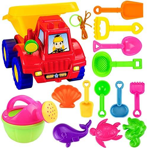 Hunpta@ Beach Toys Deluxe Playset for Kids - 14 pieces Large Dump Truck Sand Shovel Set