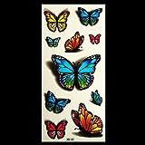 HuntGold 3D Blumen Fliegende Schmetterlinge Wasserdichte Tattoo Aufkleber Temporäre Einmal Abziehbild Kunst G