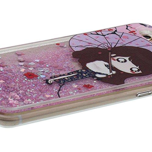 Rigid Clair Coque Apple iPhone 6 Plus 5.5 Pouce, iPhone 6S Plus Case Transparent Liquide Eau Style Écoulement Sable / Coeurs, Beau Chinois Classique Fille Motif Rose