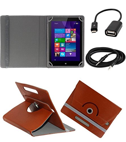 ECellStreet ™ PU Leather Rotating 360° Flip Case Cover With Tablet Stand For Digiflip Pro ET701Tablet - Brown + Free Aux Cable + Free OTG Cable  available at amazon for Rs.289