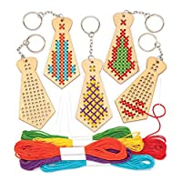 Baker Ross Wooden Tie Cross Stitch Keyring Set (Pack of 5) Embroidery Kit for Kids with Thread Included