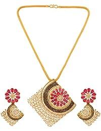 Sri Shringarr Fashion Traditional Micro Gold Polished Enamel Work With American Diamond Pendant Set For Women...
