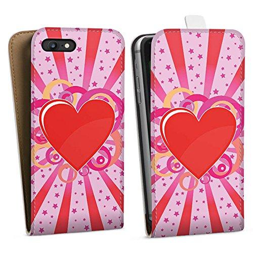 Apple iPhone X Silikon Hülle Case Schutzhülle Herz Muster Bunt Love Explosion Downflip Tasche weiß