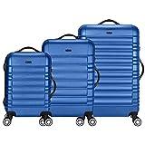 TRAVEL LORD Eco Serie Hartschalen Trolley Reisekoffer 54 | 64 | 74 cm, 32 | 72 | 88 Liter, 5 Farben (Dunkelblau, 3er Set)