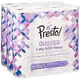 Amazon-Marke: Presto! 4-lagiges gestepptes Toilettenpapier, 48 Rollen (3 x 16 x 160 Blätter)- Blumenmuster