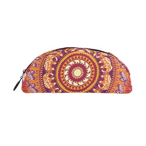 COOSUN Estuche redondo para lápices de elefantes, semicircular, bolígrafo, bolsa, soporte para...