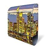 banjado - Design Edelstahl Wandbriefkasten 38x43,5x12,5cm Qualität 18/0 Briefkasten mit Motiv Frankfurt Main, Briefkasten mit schwarzem Burg-Wächter Standfuß