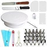 Gâteau ensemble de 35 ustensiles à pâtisserie,plateau tournant,24 buses e glaçage,un stylo de glaçage,poche en silicone réutilisable,2 spatules,3 lisseurs de glaçage