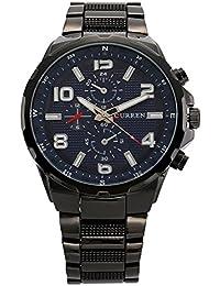 Curren Waterproof Alloy Analog Round Dial Quartz Watch For Men/Black Blue