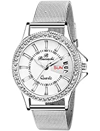 Buccachi Analouge White Dial Watches Water Resistant Silver Color Strap Watches For Women/Ladies/Girls B-L1040...