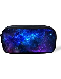 Pencil Cases for Teenage Boys, Personalised Blue Galaxy Printing Pen Holder School Supplies by Nopersonality