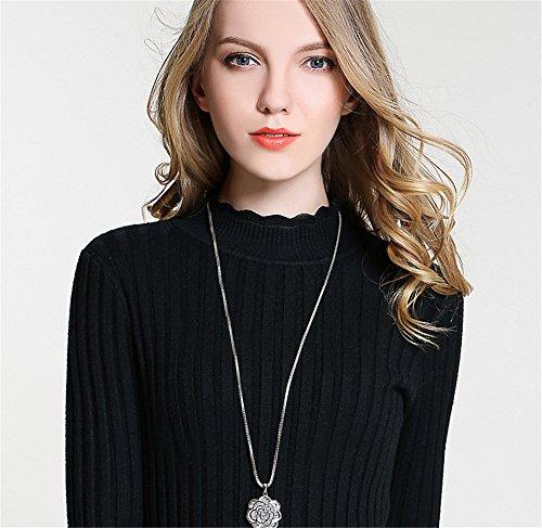 Rose Herz bud Taste pullover Kette lange Box Kette glatte, helle Oberfläche mit Schmuck Anhänger Halskette Weiblich 80 cm
