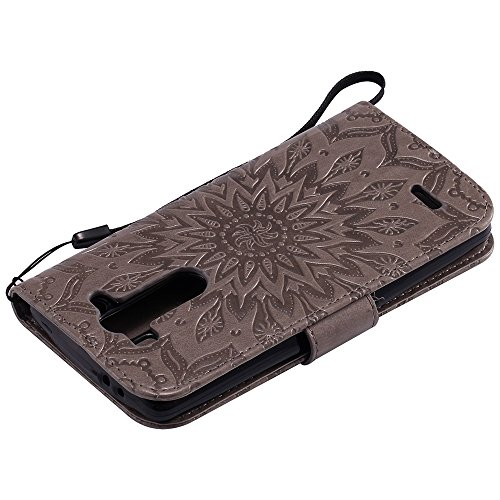 Für LG G3 Mini Case, Prägen Sonnenblume Magnetic Pattern Premium Soft PU Leder Brieftasche Stand Case Cover mit Lanyard & Halter & Card Slots ( Color : Green ) Gray