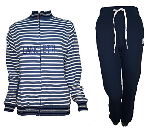 tuta donna cotone full zip LANCETTI homewear sport e tempo libero art. LF211 Blu