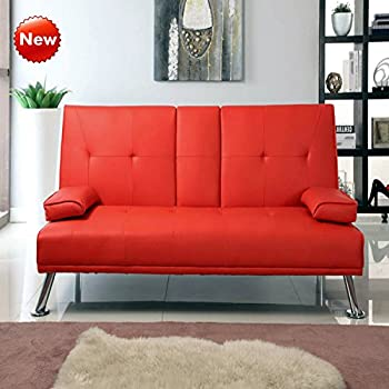 Popamazing Cinema Style 3 Seater Faux Leather Sofa Bed