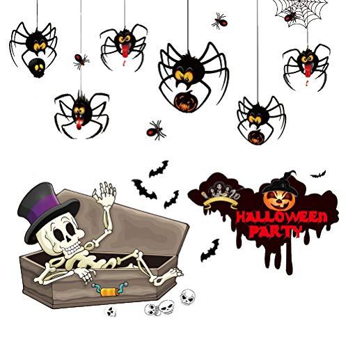 LIOOBO Halloween Wandaufkleber DIY Fensteraufkleber Spinne Schädel Fledermaus Aufkleber für Home Bar Party Dekoration (Halloween Diy Spinnen)
