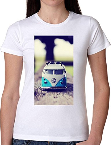 T SHIRT JODE GIRL GGG22 Z1088 CAR TRUCK HIPPIE 70S VINTAGE MUSIC FREE FASHION COOL BIANCA - WHITE