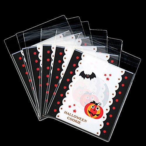 een Kekse Taschen Selbstklebende Nette Fledermaus und Kürbis Muster Süßigkeiten, Geschenk Kunststoff Paket Weiß ()
