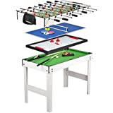 Leomark Table 4 jeux en 1 - billard, babyfoot, hockey de table et ping-pong