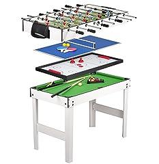 Idea Regalo - Tavolo Multigioco 4 in 1 con Biliardo Pool , Calcetto , Hockey e Ping Pong , Calcetto Balilla da Tavolo in Legno , Balilla Biliardinoo
