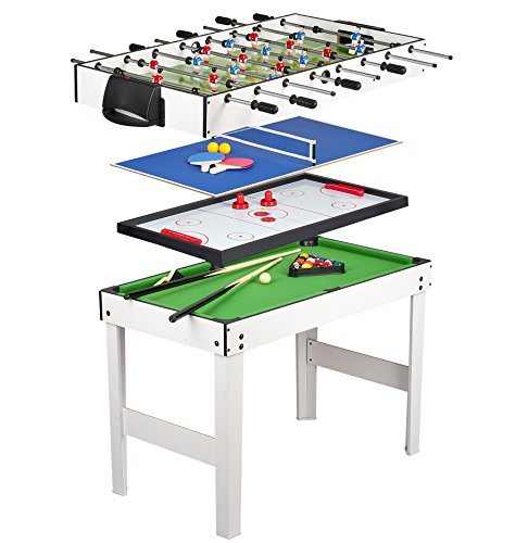 Leomark Table 4 jeux en 1 - billard, babyfoot, hockey de table et ping-pong