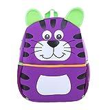 DonDon Kinderrucksack für Mädchen und Jungen Tiermotiv Katze lila 33 x 26 x 13 cm