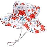 Sombrero de Verano para bebé Sombrero de Playa Ajustable Sombrero de niño al Aire Libre Sombrero de ala Ancha con protección Solar con Correa, 18.9 Pulgadas, 6-12 Meses (Estilo 2)