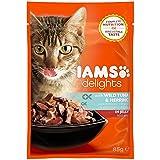 Iams Delights Adult Thunfisch & Hering, Nassfutter für erwachsene Katzen, Probiergröße, Einzelbeutel (85 g)